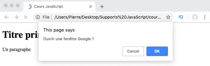 Exemple d'utilisation de la méthode confirm de l'objet JavaScript Window