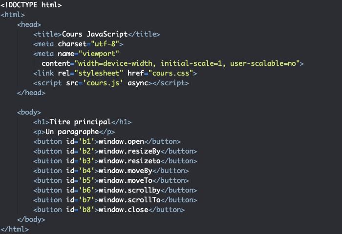 Code HTML support pour présentation des méthodes de l'objet Window