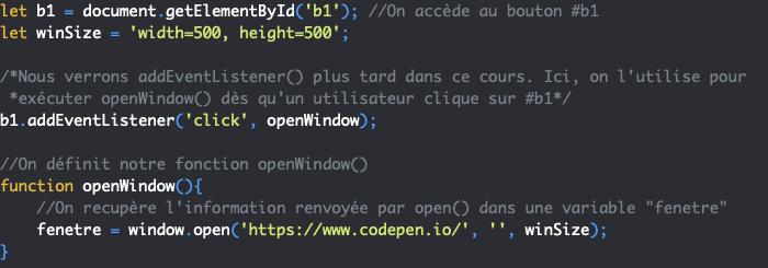 Présentation de la méthode open de l'objet JavaScript Window
