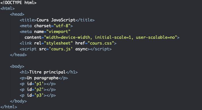 Code HTML support pour présentation des propriétés de l'objet Window