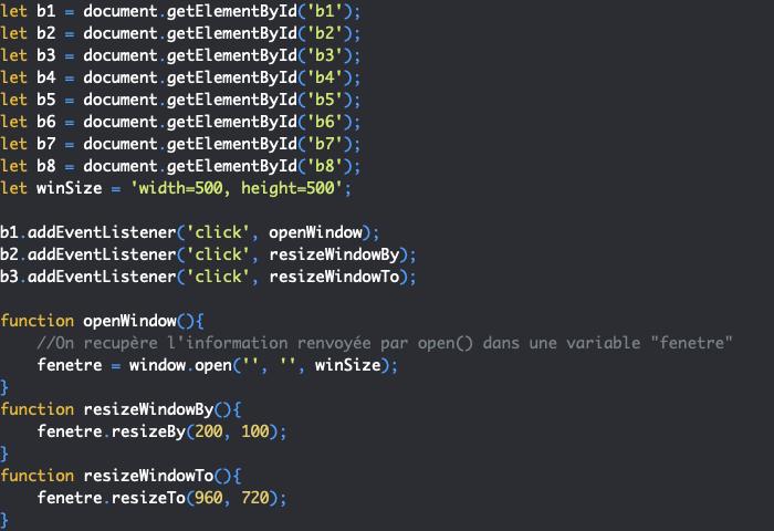 Présentation des méthodes resizeto et resizeby de l'objet JavaScript Window