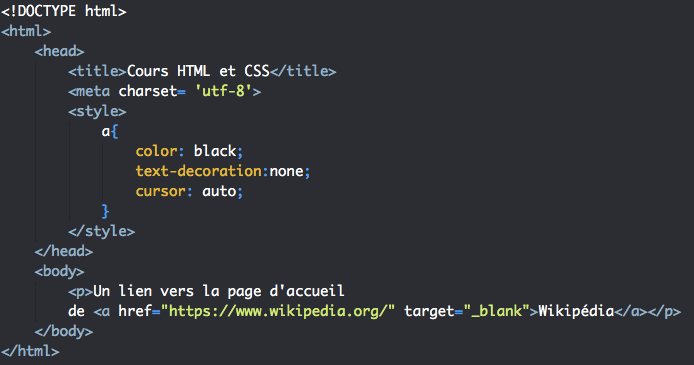 Utilisation attribut target liens HTML