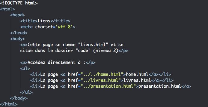 Création liens internes HTML avec l'élément a 3