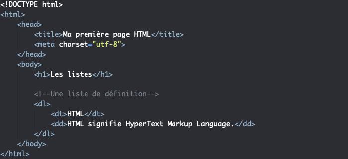 Les listes de définition en HTML