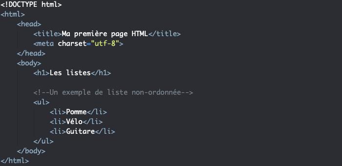 Création d'un liste non ordonnée avec l'élément HTML ul