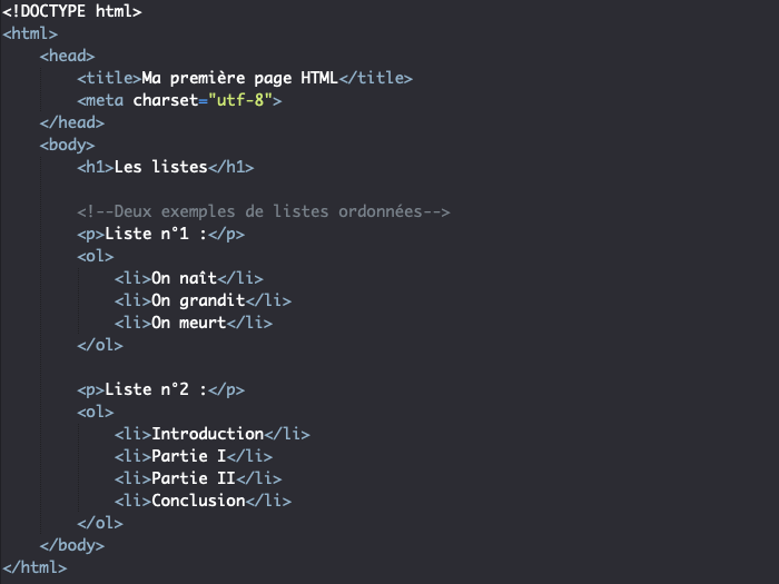 Création d'une liste ordonnée avec l'élément HTML ol