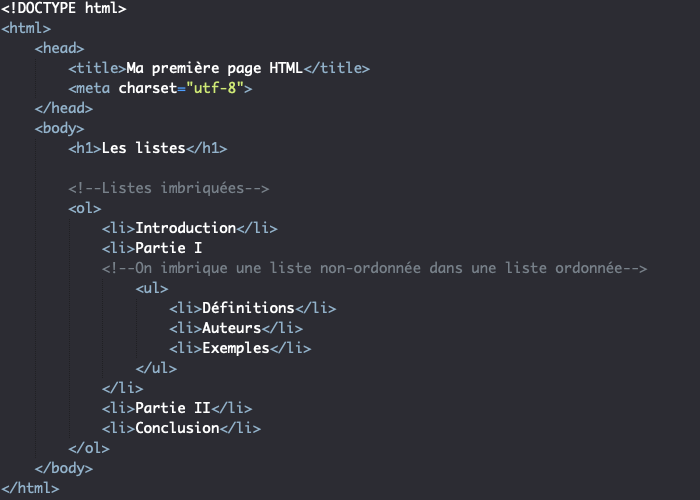 Imbrication de listes en HTML