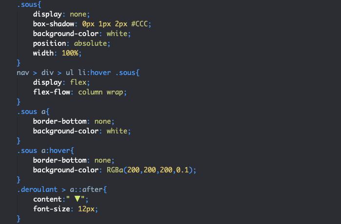 On applique les styles CSS aux éléments des sous menus du menu responsive HTML et CSS