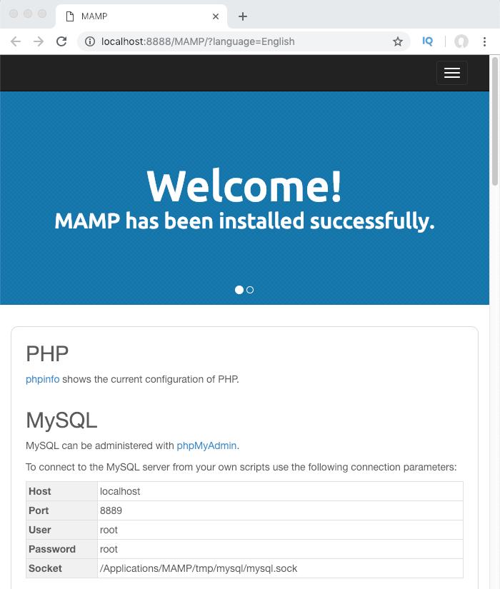 Page d'accueil de MAMP après lancement des serveurs