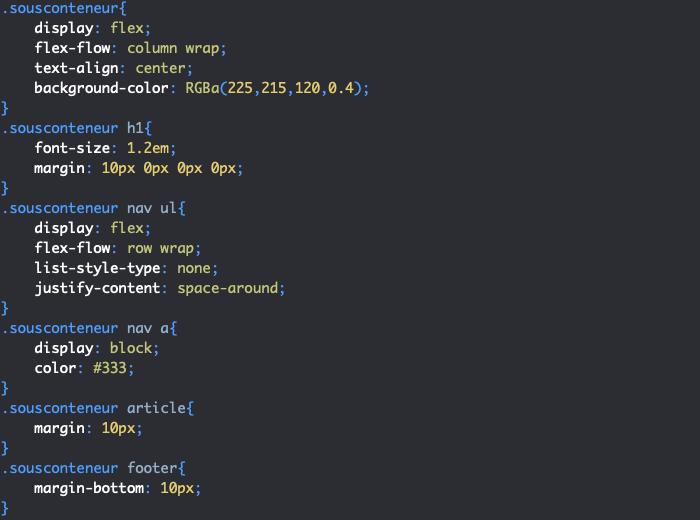 Exercice de création d'une page avec CSS grid et flexbox styles article mobile