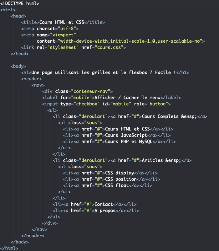 Exercice de création d'une page avec CSS grid et flexbox header et nav HTML