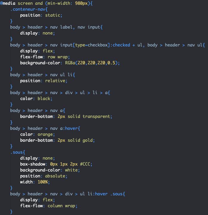 Styles CSS menu desktop page HTML avec grille et flexbox