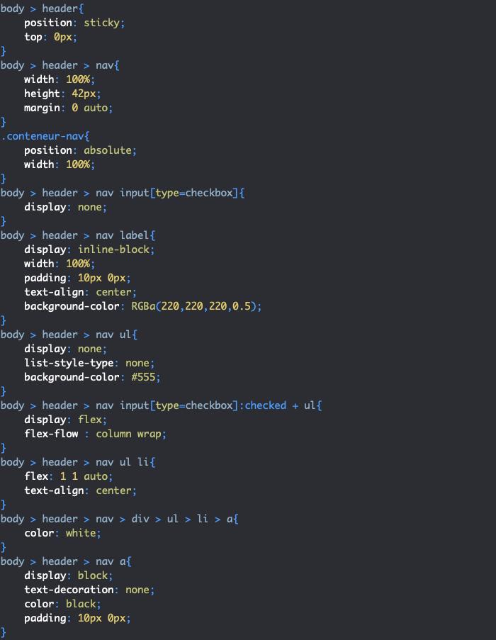 Exercice de création d'une page avec CSS grid et flexbox styles menu mobile