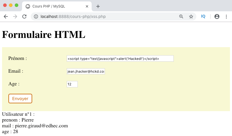 Exemple injection script formulaire faille XSS
