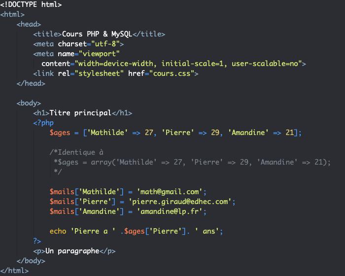 Création d'un tableau associatif en PHP et affichage des valeurs une à une
