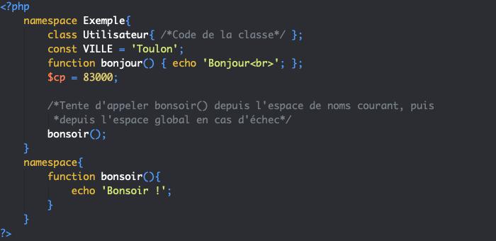 Appel d'une fonction définie dans l'espace global depuis un espace de noms en PHP