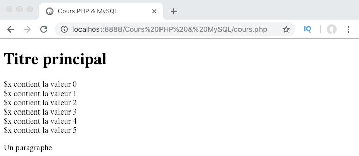Exemple de création et d'utilisation d'une boucle PHP for