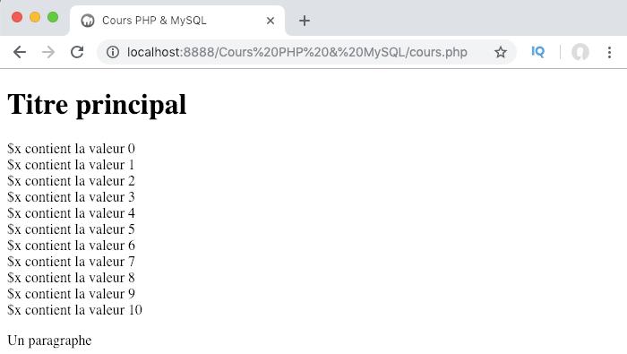 Exemple de création et d'utilisation d'une boucle PHP while