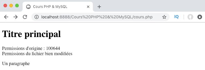 Modifier les permissions d'un fichier en PHP avec la fonction chmod