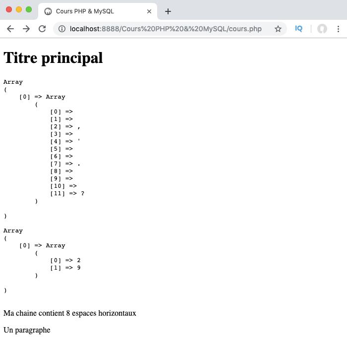 Présentation et exemple d'utilisation des classes abrégées des regex PHP