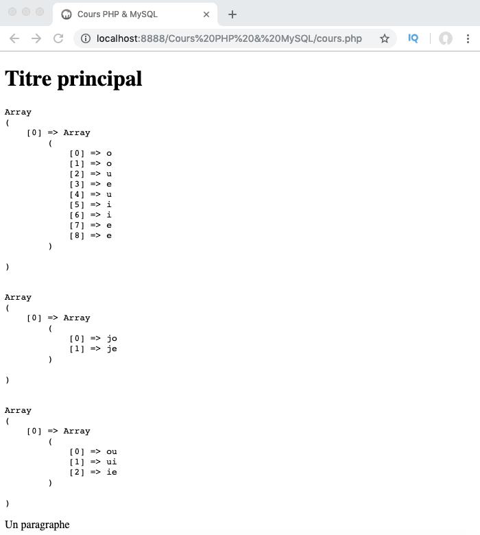 Présentation et exemple d'utilisation des classes de caractères des expressions régulières PHP