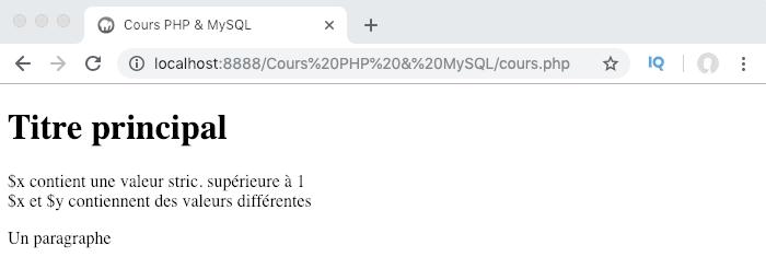 Exemple d'utilisation d'une condition if else en PHP et résultat