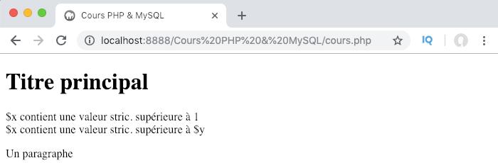 Exemple d'utilisation d'une condition if elseif else en PHP et résultat