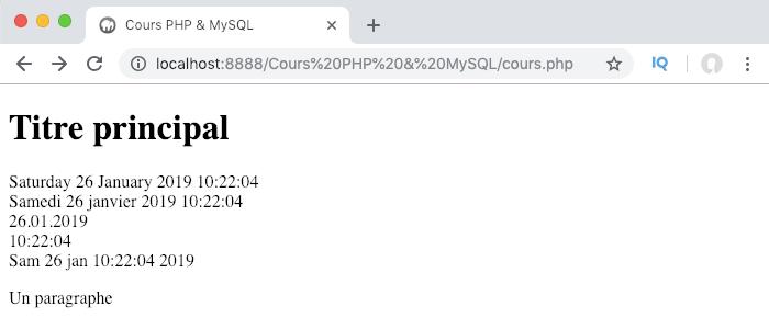 Utilisation des fonctions setlocale et strftime pour passer une date PHP au format local