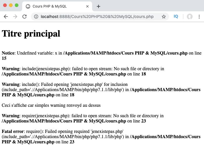 Présentation des différents types d'erreurs PHP