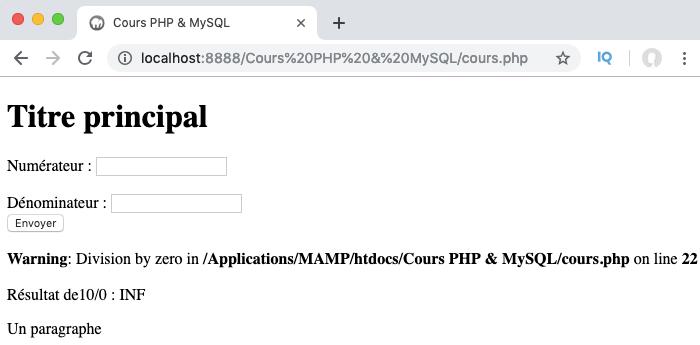 Une erreur est déclenchée sans prise en charge en PHP