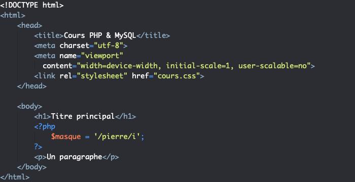 Exemple d'une expression régulière en PHP avec option