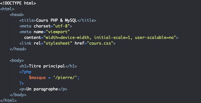 Exemple d'écriture d'une expression régulière ou rationnelle en PHP