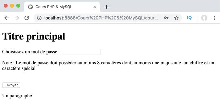 Exemple d'utilisation d'expression régulière en PHP pour valider un mot de passe de formulaire HTML