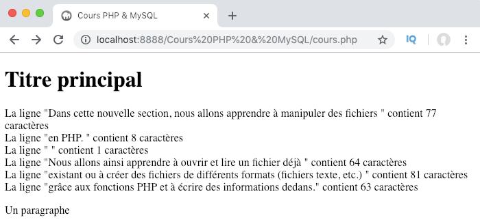 On utilise la fonction feof pour trouver la fin d'un fichier en PHP