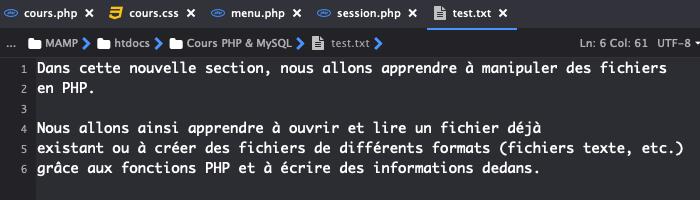 Fichier support pour exemple de manipulation de fichier en PHP
