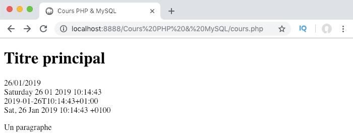 Utilisation de la fonction date en PHP