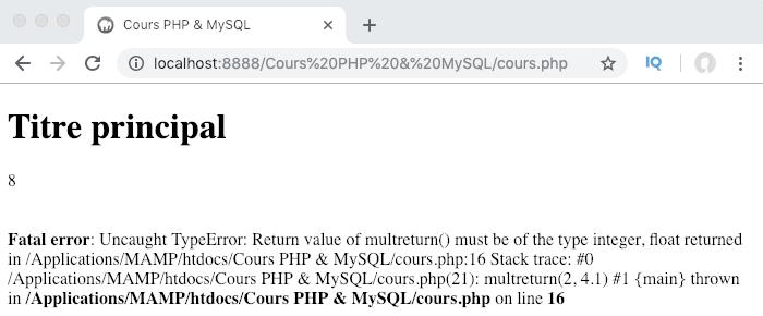Le valeurs de retour avec return et le typage des valeurs dans les fonctions PHP