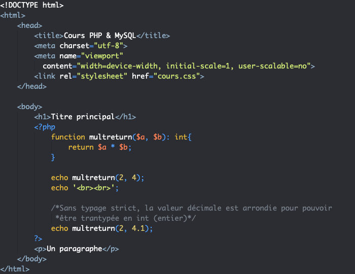 Valeurs de retour, typage strict et transtypage des valeurs en PHP