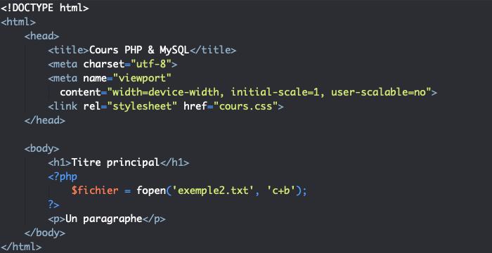 On crée un nouveau fichier en PHP avec fopen