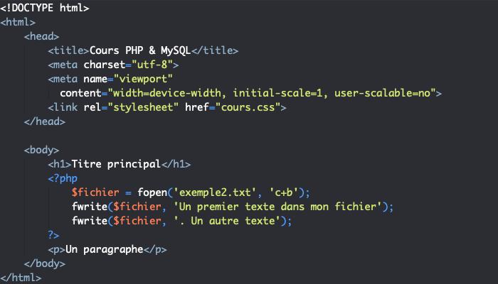 On écrit plusieurs fois d'affilée dans un même fichier en PHP en utilisant plusieurs fois fwrite