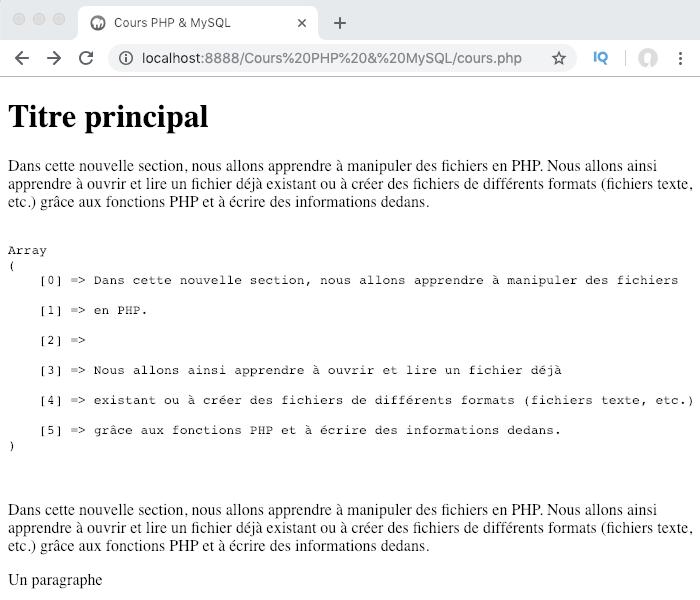 On peut utiliser les fonctions file_get_contents, file et readfile pour lire le contenu d'un fichier en PHP