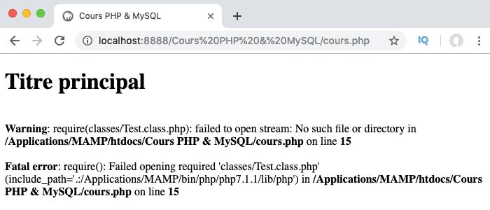 Une erreur est renvoyée si on tente d'auto charger une classe inaccessible en PHP