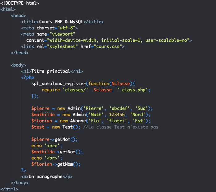 On tente d'auto charger une classe qui n'existe pas en PHP