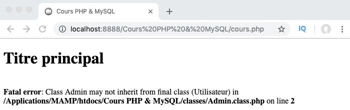 En déclarant une classe comme finale avec final en PHP, on empêche la surcharge