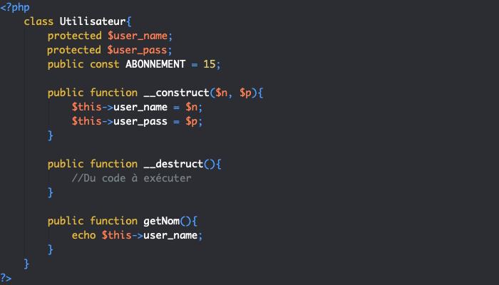 Définition d'une constante de classe en PHP objet