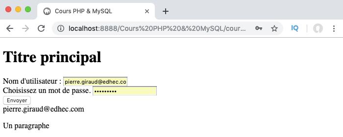 On passe les données du formulaire au constructeur de classe pour créer un objet en PHP