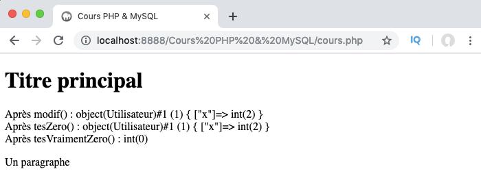 Exemple de passage par valeur via un identifiant et de passage par référence en PHP objet