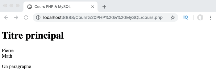Le constructeur de la classe parent est utilisé lors de la création d'un objet à partir de la classe étendue en PHP