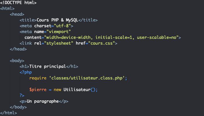 On crée un objet en orienté objet PHP en créant une instance de classe avec new