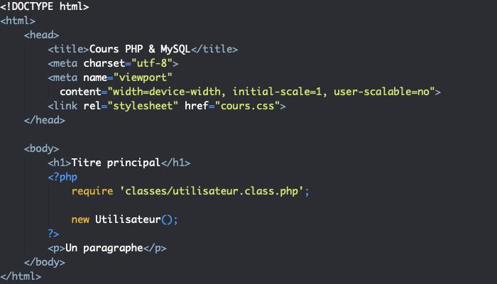 On crée une nouvelle instance de classe avec new en PHP